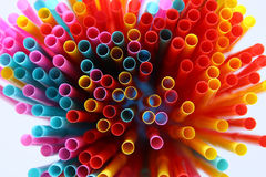top view image of colorful straws. abstract or party concept Royalty Free Stock Photo