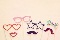 Top view image of funny and colorful photo booth props for party Royalty Free Stock Image