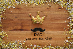 Top view image of funny mustache and glitter crown. Father& x27;s day concept royalty free stock images