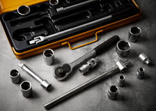 A top view image of hand tools. Set of tools on concrete panel b Stock Photos