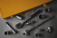 A top view image of hand tools. Set of tools on concrete panel b Stock Image