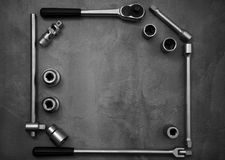 A top view image of hand tools. Set of tools on concrete panel b Stock Photo
