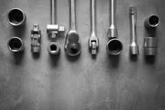 A top view image of hand tools. Set of tools on concrete panel b Stock Photography