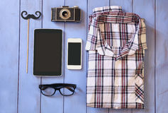 Top view image of hipster accessories and clothes Stock Photography