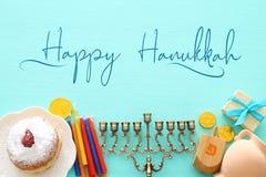 Top view image of jewish holiday Hanukkah background. Top view image of jewish holiday Hanukkah background royalty free stock images