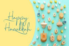 Top view image of jewish holiday Hanukkah background. Top view image of jewish holiday Hanukkah background royalty free stock photo