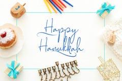 Top view image of jewish holiday Hanukkah background. Top view image of jewish holiday Hanukkah background stock photo
