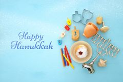 Top view image of jewish holiday Hanukkah background with traditional spinnig top, menorah & x28;traditional candelabra& x29; royalty free stock photos
