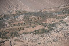 Top view image of Ladakh city. And Indus river Stock Photography