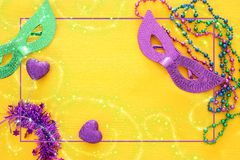 Top view image of masquerade background. Flat lay. Mardi Gras celebration concept. Top view image of masquerade background. Flat lay. Mardi Gras celebration stock photos