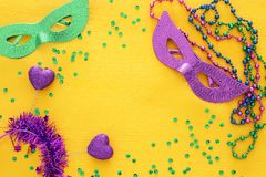 Top view image of masquerade background. Flat lay. Mardi Gras celebration concept. Top view image of masquerade background. Flat lay. Mardi Gras celebration stock photography