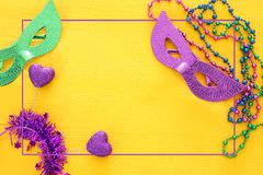 Top view image of masquerade background. Flat lay. Mardi Gras celebration concept. Top view image of masquerade background. Flat lay. Mardi Gras celebration royalty free stock images