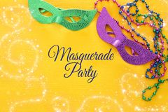 Top view image of masquerade background. Flat lay. Mardi Gras celebration concept. Top view image of masquerade background. Flat lay. Mardi Gras celebration royalty free stock photography