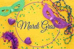 Top view image of masquerade background. Flat lay. Mardi Gras celebration concept. Top view image of masquerade background. Flat lay. Mardi Gras celebration royalty free stock image
