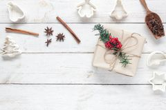 Top view image of Merry Christmas & Happy New Year background concept.Accessories for homemade dessert with decoration on v. Top view aerial image of Merry Stock Photos