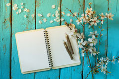 Top view image of spring white cherry blossoms tree, open blank notebook next to wooden colorful pencils on wooden table Stock Photos