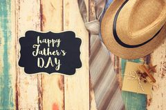 Top view Image of tie and male fedora hat. Father`s day concept. Top view Image of tie and male fedora hat. Father`s day concept Royalty Free Stock Photo