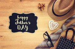 Top view Image of tie and male fedora hat. Father`s day concept. Top view Image of tie and male fedora hat. Father`s day concept Stock Photos