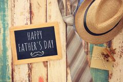Top view Image of tie and male fedora hat. Father`s day concept. Top view Image of tie and male fedora hat. Father`s day concept Stock Photo