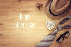 Top view Image of tie and male fedora hat. Father`s day concept. Top view Image of tie and male fedora hat. Father`s day concept Royalty Free Stock Photos