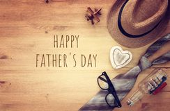Top view Image of tie and male fedora hat. Father`s day concept. Top view Image of tie and male fedora hat. Father`s day concept Stock Images