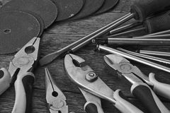 Hand Tools and Work Bench Background royalty free stock photos
