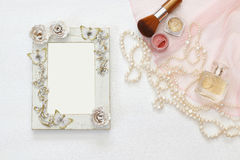 Top view image of vintage woman toilet accessory Royalty Free Stock Photography