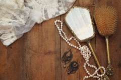 Top view image of vintage woman toilet fashion objects