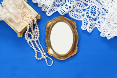 Top view image of vintage woman toilet fashion objects Royalty Free Stock Photo