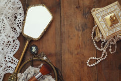 Top view image of vintage woman toilet fashion objects Royalty Free Stock Images