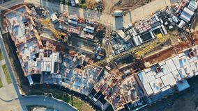 Top view of an incomplete construction site. 4K stock video