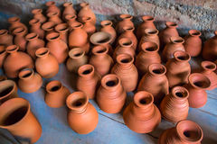 Top view of indian traditional handmade pottery of different sized cups and jugs, Chennai, India, Feb 25 2017 Stock Images