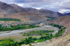 Top view of Indus river and Kargil City, Leh, Ladakh, Jammu, Kashmir, India Royalty Free Stock Image