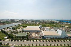 Top view of industrial estate in Thailand Royalty Free Stock Image