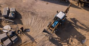 Top view of industrial road roller machine isolated texture, working and make new road royalty free stock images