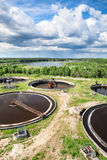 Top view of industrial sewage treatment plant Royalty Free Stock Image
