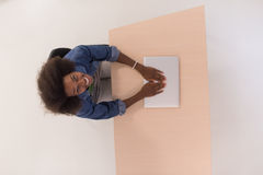 Top view of informal african american Businesswoman Royalty Free Stock Photos