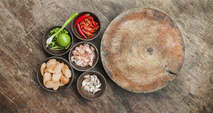 Top view of ingredient raw food on wood table Royalty Free Stock Images