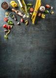 Top of view ingredients of the italian or mediterranean cuisine. Stock Photo