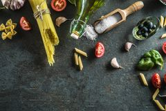 Top of view ingredients of the italian or mediterranean cuisine. Stock Images