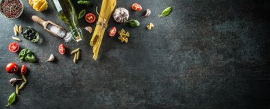 Top of view ingredients of the italian or mediterranean cuisine. Royalty Free Stock Photos