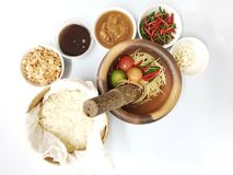 Top view ingredients of popular Thai food called Som Tum. On isolated background Stock Images