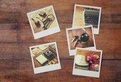 Top view of instant polaroid photos album Royalty Free Stock Photo