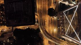 Top view interchange of a city at night. Stock. Important infrastructure in city. Top view of the traffic at night.  Royalty Free Stock Photo