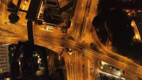 Top view interchange of a city at night. Stock. Important infrastructure in city. Top view of the traffic at night.  Royalty Free Stock Images