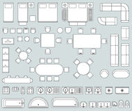 Top view interior with line furniture icons vector set Stock Photography