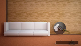 Top view of an interior rendering of a living room Stock Photo