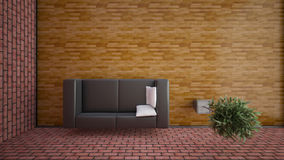 Top view of an interior rendering of a living room Royalty Free Stock Image