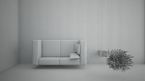 Top view of an interior rendering of a living room Stock Images