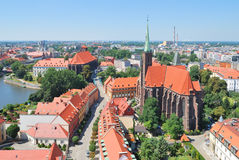 Top-view of the island Tumski in Wroclaw Royalty Free Stock Images